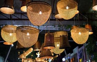 Lights on an outdoor patio photo