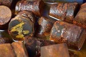 Rusty steel immersed in water
