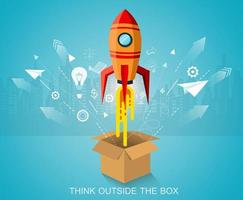 Think outside the box, Space Rocket Launching vector