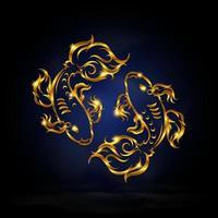 Gold pisces zodiac symbol vector