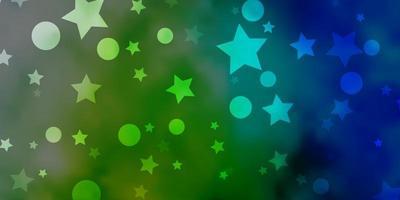Telón de fondo de vector azul claro, verde con círculos, estrellas.