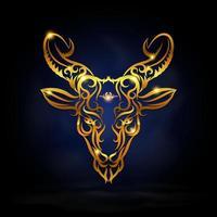 símbolo del zodiaco capricornio de oro vector