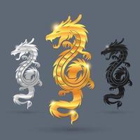Color dragon symbol set vector