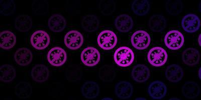 Telón de fondo de vector rosa oscuro con símbolos de virus