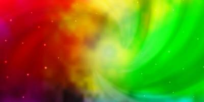 Light Multicolor vector background with small and big stars.