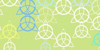 plantilla de vector azul claro, amarillo con signos esotéricos.
