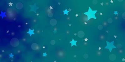 patrón de vector azul claro con círculos, estrellas.