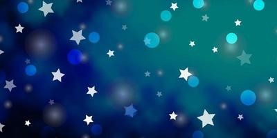 Dark BLUE vector texture with circles, stars.