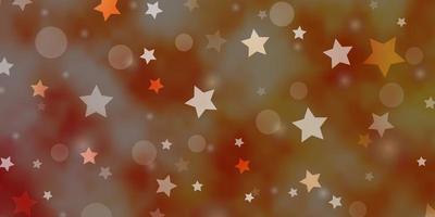 Light Orange vector background with circles, stars.