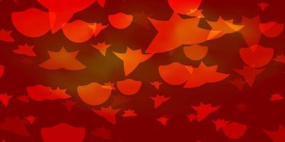 Fondo de vector naranja claro con círculos, estrellas.