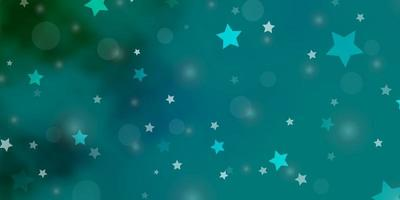 Light Blue, Green vector texture with circles, stars.