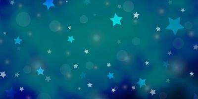 Dark BLUE vector background with circles, stars.