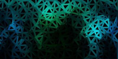 Dark blue, green vector triangle mosaic template.