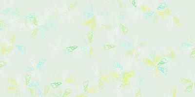 Light blue, green vector abstract texture with leaves.