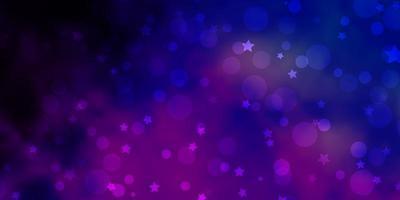 plantilla de vector rosa claro, azul con círculos, estrellas.