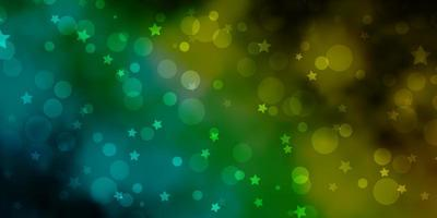 textura de vector azul claro, verde con círculos, estrellas.