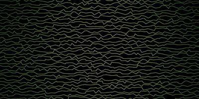 patrón de vector verde oscuro, amarillo con curvas.