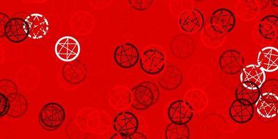 Fondo de vector rojo claro con símbolos ocultos.