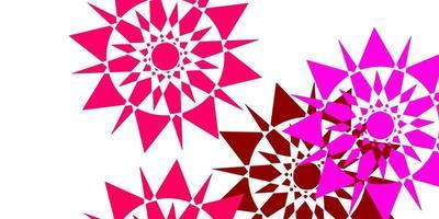plantilla de vector rosa claro con copos de nieve de hielo.
