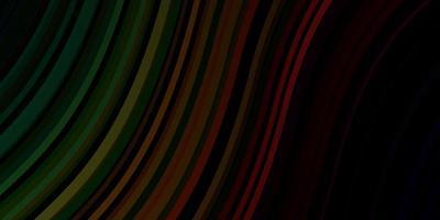plantilla de vector verde oscuro, rojo con líneas torcidas.