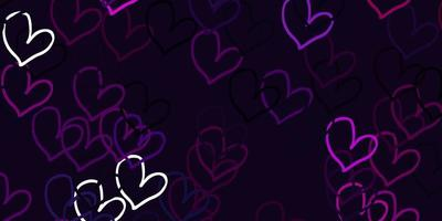 Light Pink vector background with hearts.