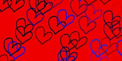 Light Blue, Red vector pattern with colorful hearts.
