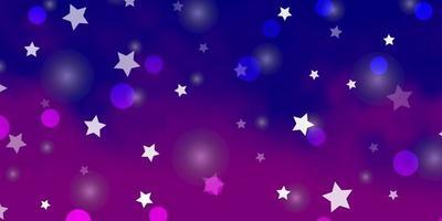 Fondo de vector violeta, rosa claro con círculos, estrellas.