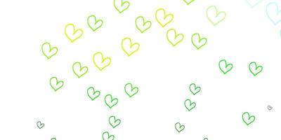 Light Green, Yellow vector pattern with colorful hearts.