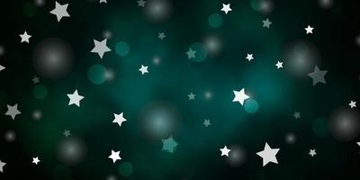 Dark Green vector background with circles, stars.