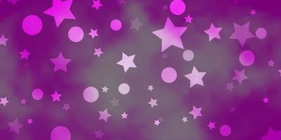 plantilla de vector rosa claro con círculos, estrellas.
