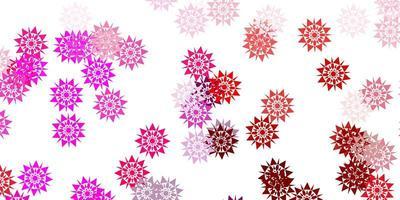 textura de vector violeta, rosa claro con copos de nieve brillantes.
