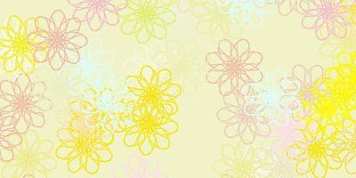 Light Green, Red vector doodle background with flowers.