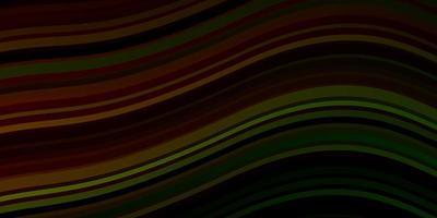 Fondo de vector verde oscuro, rojo con líneas torcidas.