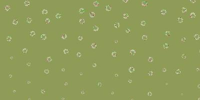diseño de vector rosa claro, verde con formas circulares.