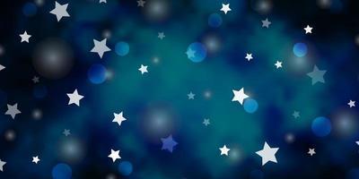 textura de vector azul oscuro con círculos, estrellas.