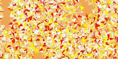 Light red, yellow vector beautiful snowflakes backdrop with flowers.