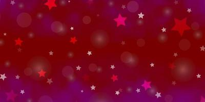 Light Purple, Pink vector background with circles, stars.