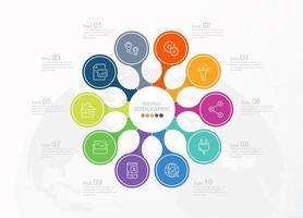 banner de infografía estándar con iconos de negocios vector