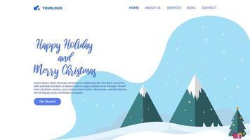 fondo de página de aterrizaje plana de tema de navidad
