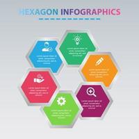 Modern Hexagon Infographic Design. Business Infographic With 6 Options Hexagonal Shape.