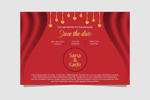 Red and Gold Wedding Banner Design. Wedding Invitation Banner. vector