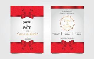Red Wedding Invitation Modern Design. Wedding Invitation Flyer Modern Design. vector
