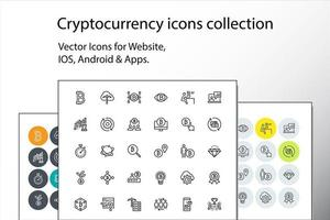 Set of thin line cryptocurrency icons vector