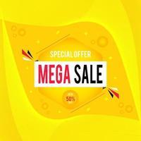 Mega Sale Banner With Special Offer. Sale Banner With Mega Sale Sign.