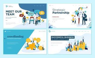 conjunto de plantillas de diseño de páginas web para nuestro equipo, reuniones y lluvia de ideas, asociación estratégica, crowdfunding, éxito empresarial
