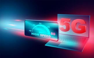 internet de alta velocidad con banner de tecnología 5g vector