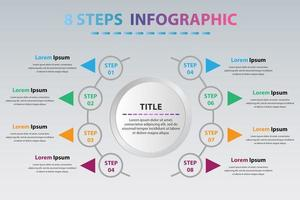 Modern Circle Infographics With Eight Steps. Circle Infographic Template With 8 Options. vector