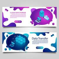 Data technology banner set for business with isometric design vector