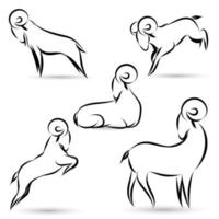 Black goats outline set vector
