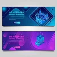 Smart city concept banner set with buildings vector